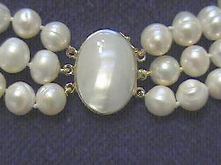 "#218 - TRIPLE 10MM WHITE BAROQUE NECKLACE 19""  WITH WHITE MABE CLASP"