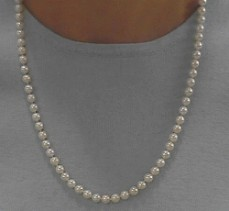 "#219 -SINGLE 23"" MATINEE LENGTH 7.5MM WHITE CULTURED NECKLACE 14K CLASP"