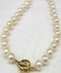 "#221 -SINGLE 18"" LENGTH 7.5MM WHITE CULTURED NECKLACE  14K CLASP"