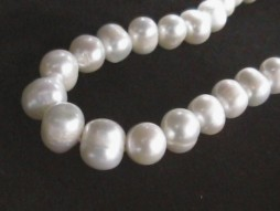 "#223 -SINGLE 18"" LENGTH 10.5MM WHITE BAROQUE  PEARL NECKLACE"