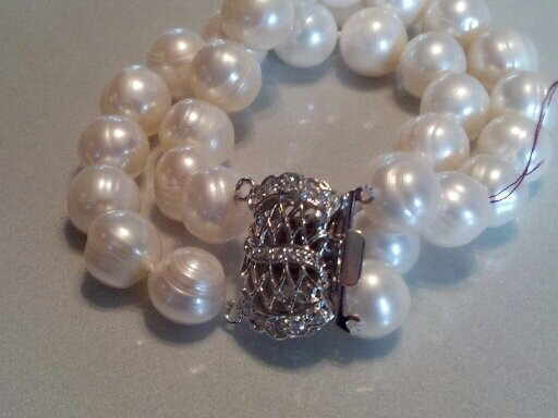 #015 - 11MM DOUBLE WHITE BAROQUE PEARL BRACELET 7_5 INCH SILVER CLASP