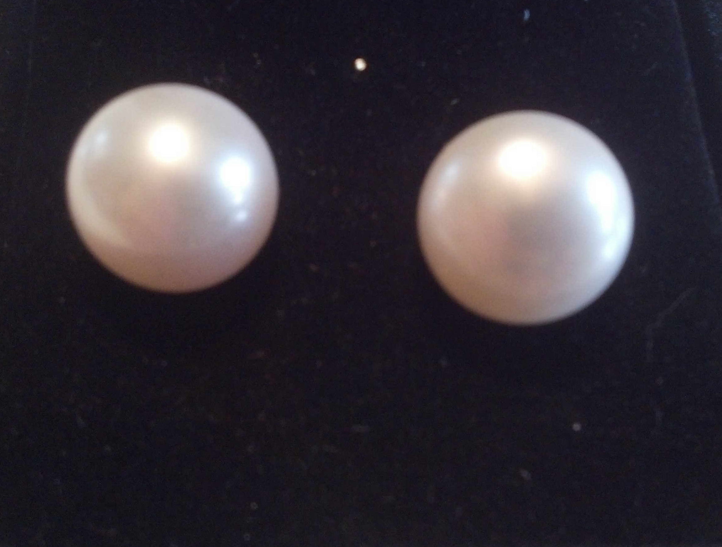 #35 - 11MM WHITE CULTURED STUDS 14K GOLD