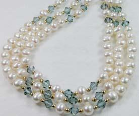 #211 - cultured  triple 7mm blue grey crystal