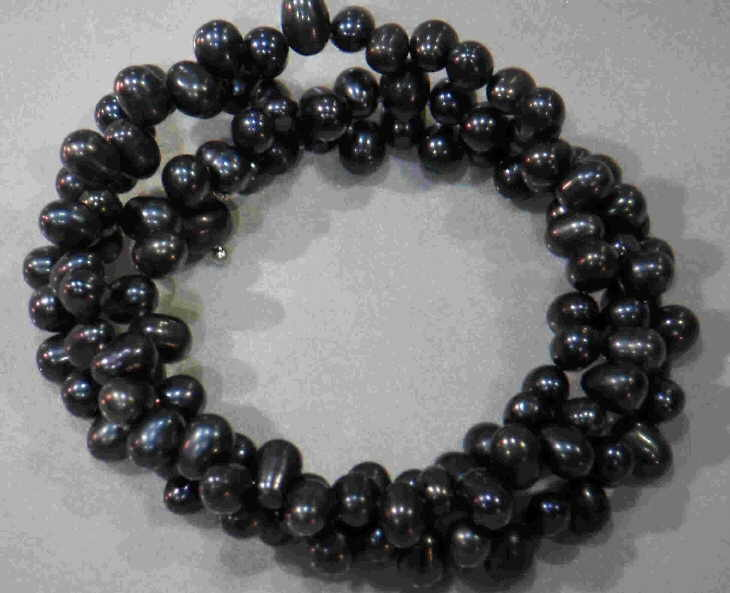 #30 - FRESHWATER PEARL TRIPLE BRACELET ON WIRE-BLACK