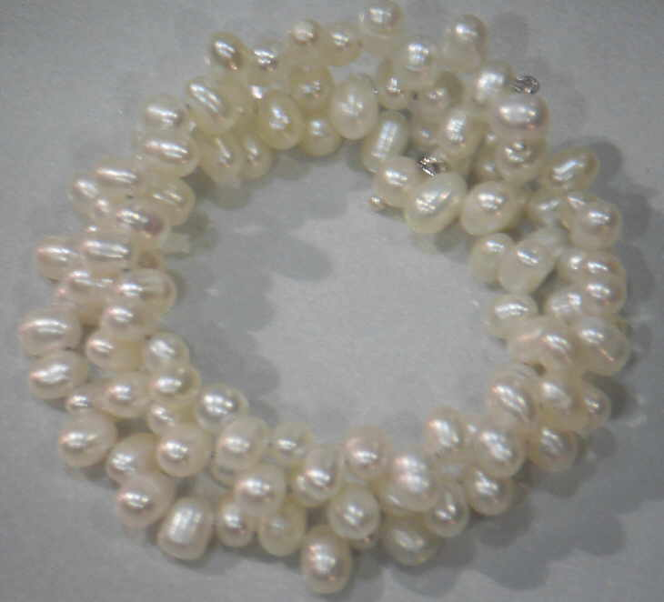 #31 - FRESHWATER PEARL TRIPLE BRACELET ON WIRE-WHITE