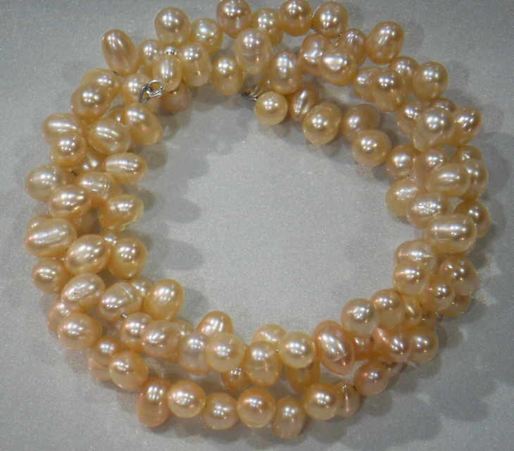 #33- FRESHWATER PEARL TRIPLE BRACELET ON WIRE-ROSE