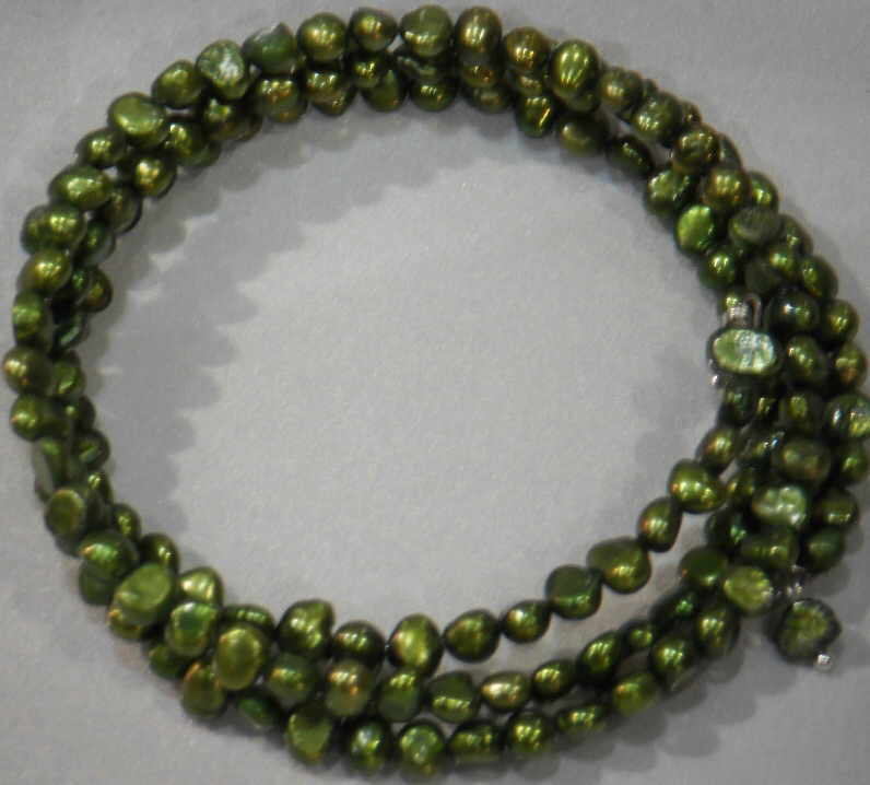 #35 - FRESHWATER PEARL TRIPLE BRACELET ON WIRE-GREEN