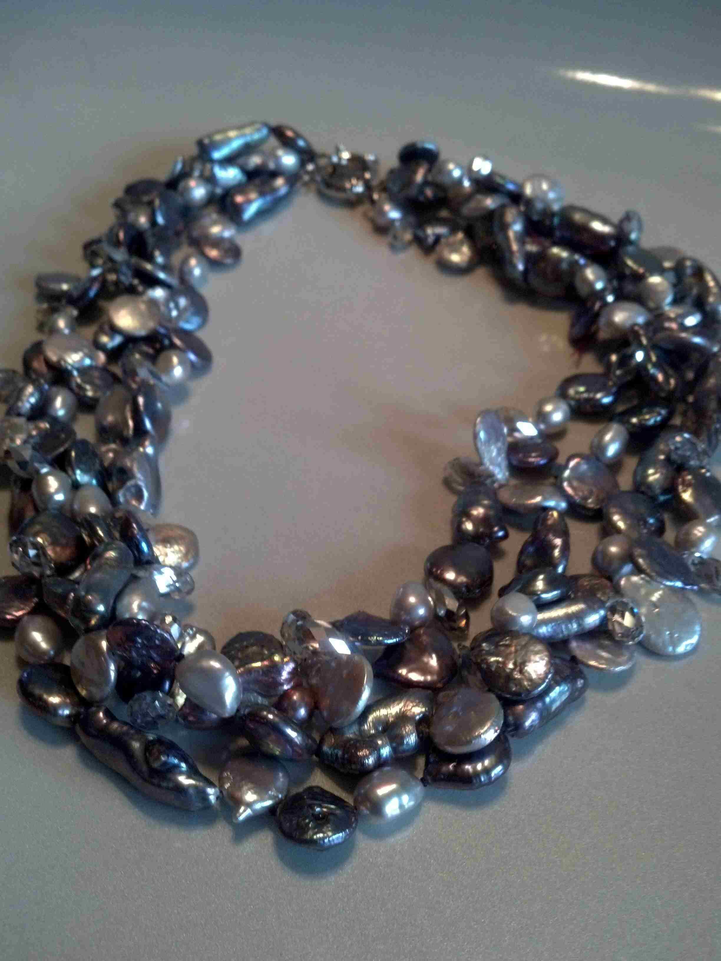 #507 - 18INCH CRYSTAL BRONZE DOUBLE_STRAND KEECH PEARL