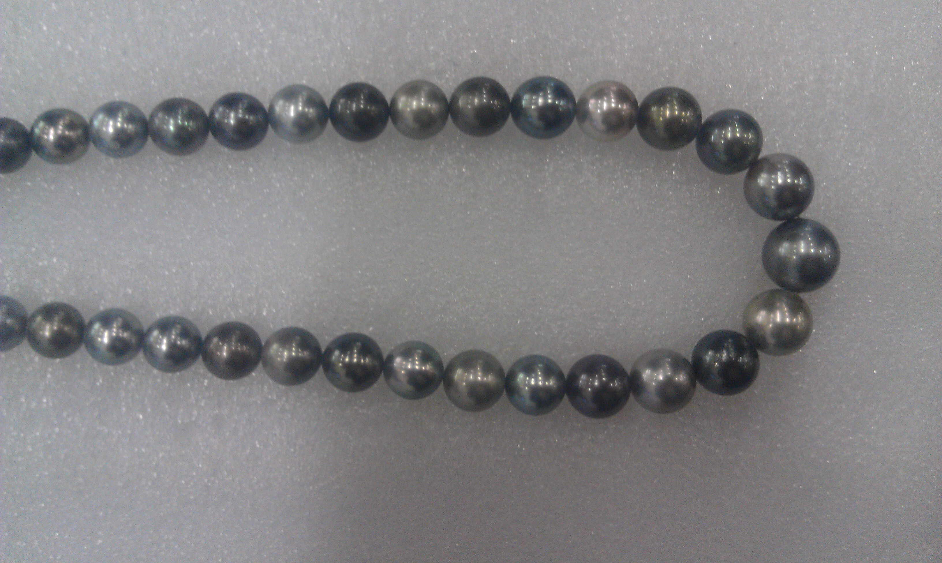 #707 - 18INCH 14MM SOUTH SEA TAHITIAN BLACK GREY MULTI COLOR  14K CLASP