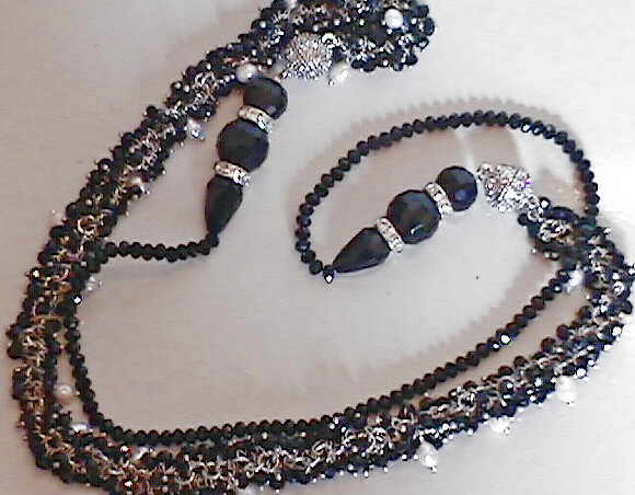 "#AJ926  CRYSTAL DESIGNER BLACK ONYX AND QUARTZ NECKLACE WEAR 18"" OR 36"""