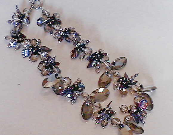 #AJ927  CRYSTAL DESIGNER SMOKEY QUARTZ NECKLACE 18""