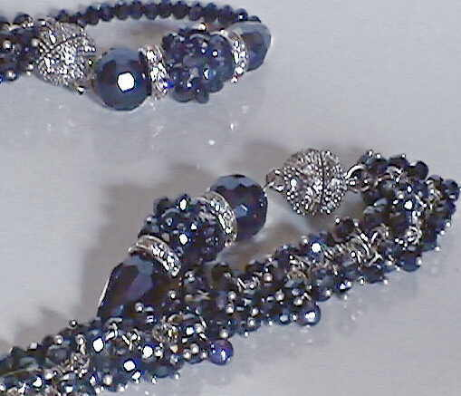 "#AJ929  CRYSTAL DESIGNER DEEP BLUE QUARTZ NECKLACE WEAR 18"" OR 36"" CLOSE"