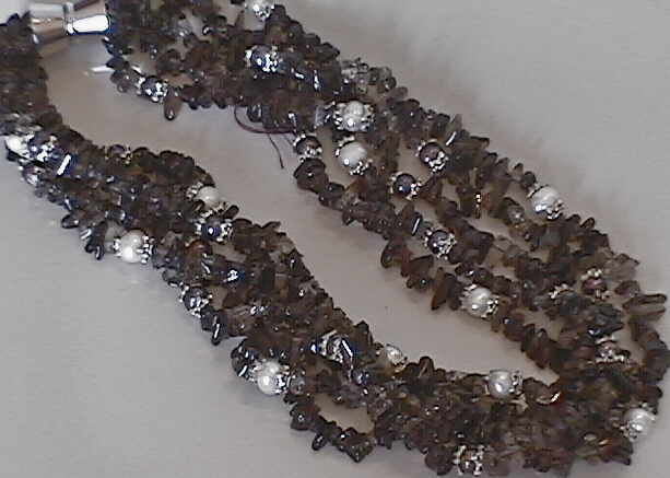 "#46  19"" SMOKY QUARTZ AND WHITE PEARL MULTISTRAND NECKLACE"