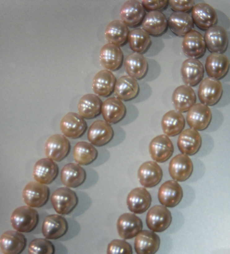 "#225 -DOUBLE 18"" LENGTH 10MM ROSE PINK BAROQUE PEARL NECKLACE"