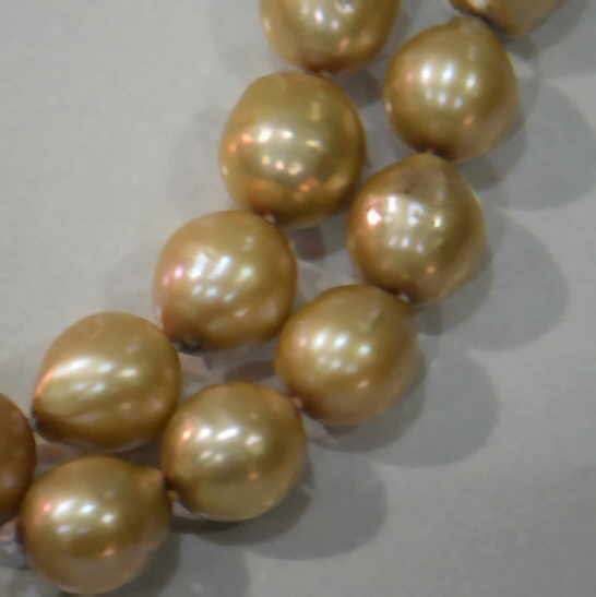 "#227 -DOUBLE 18"" LENGTH 10MM GOLDEN CHAMPANGE BAROQUE PEARL NECKLACE"